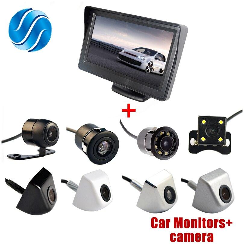 Показателя viecar 4.3 дюймов автопарк Системы дисплей HD Автомобильный Зеркало заднего вида Мониторы с 170 градусов Водонепроницаемый Автомобильная камера заднего вида