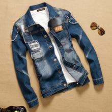 TIGER KNIFE2017 Men Vintage Denim Jacket New Fashion Slim Fitness Jeans Coats Cotton Letter Print Tops Plus Size