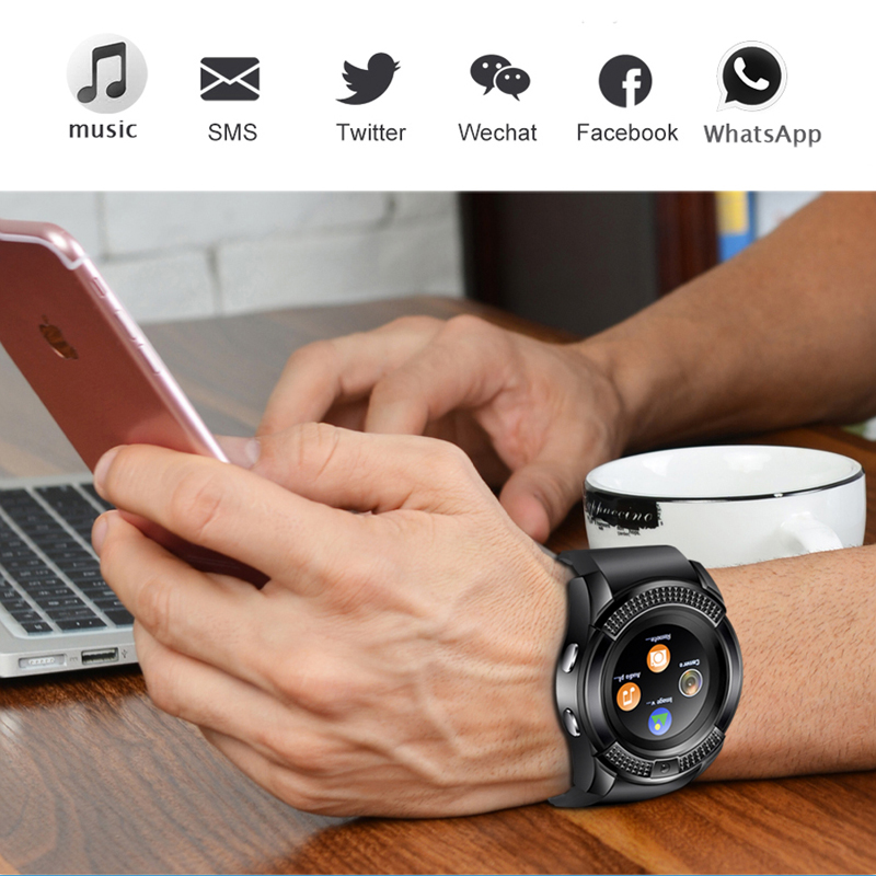 2019 New Men Sport Smart Watch Women Bluetooth Music Player Fitness Pedometer Smartwatch LED Color Touch Screen for Android Box in Smart Watches from Consumer Electronics