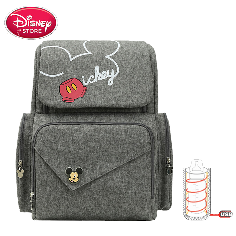 New Disney Mummy Bag Mickey Mouse Bag Diaper Bag Backpack Mom Baby Bags Maternity Handbag USB Cup Heating