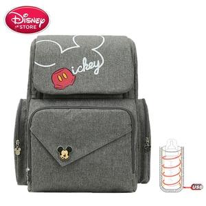 Image 1 - New Disney Mummy bag mickey mouse bag diaper bag backpack mom baby bags Maternity Handbag USB cup heating