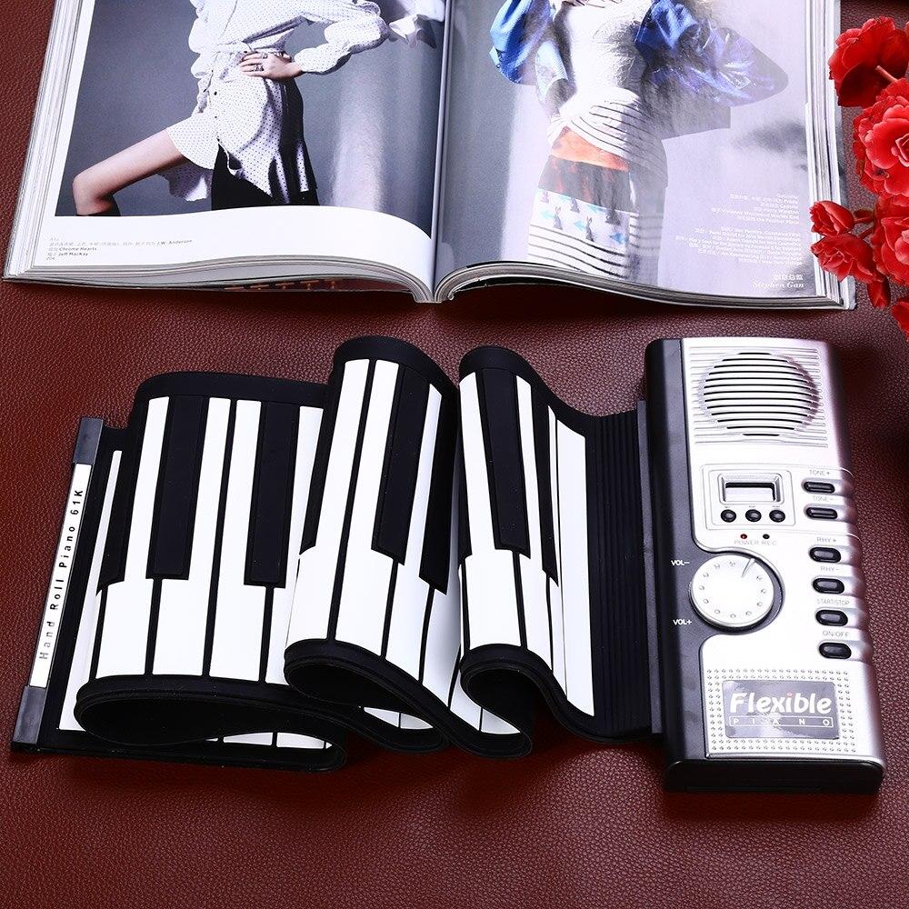 Portable 61 touches retroussable clavier souple 61 touches Silicone MIDI numérique clavier souple Piano Flexible électronique retrousser Piano