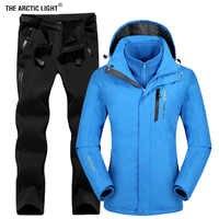 La veste de Ski de plein air pour femmes lumière arctique convient à la randonnée Camping Sports polaire hiver coupe-vent veste thermique polaire pantalons ensembles