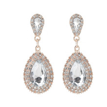 ECODAY Jewelry Vintage Earrings For Women Waterdrop Rhinestone Earrings Brincos Oorbellen Pendientes Mujer Wedding Earrings все цены