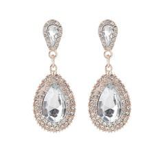 ECODAY Jewelry Vintage Earrings For Women Waterdrop Rhinestone Earrings Brincos Oorbellen Pendientes Mujer Wedding Earrings a suit of vintage rhinestone wedding jewelry set for women