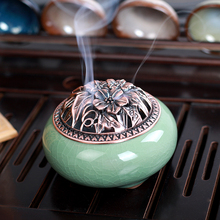 Longquan celadon aromatherapy furnace with ceramic Buddha hand antique copper cover joss stick sandalwood incense aloes backflow