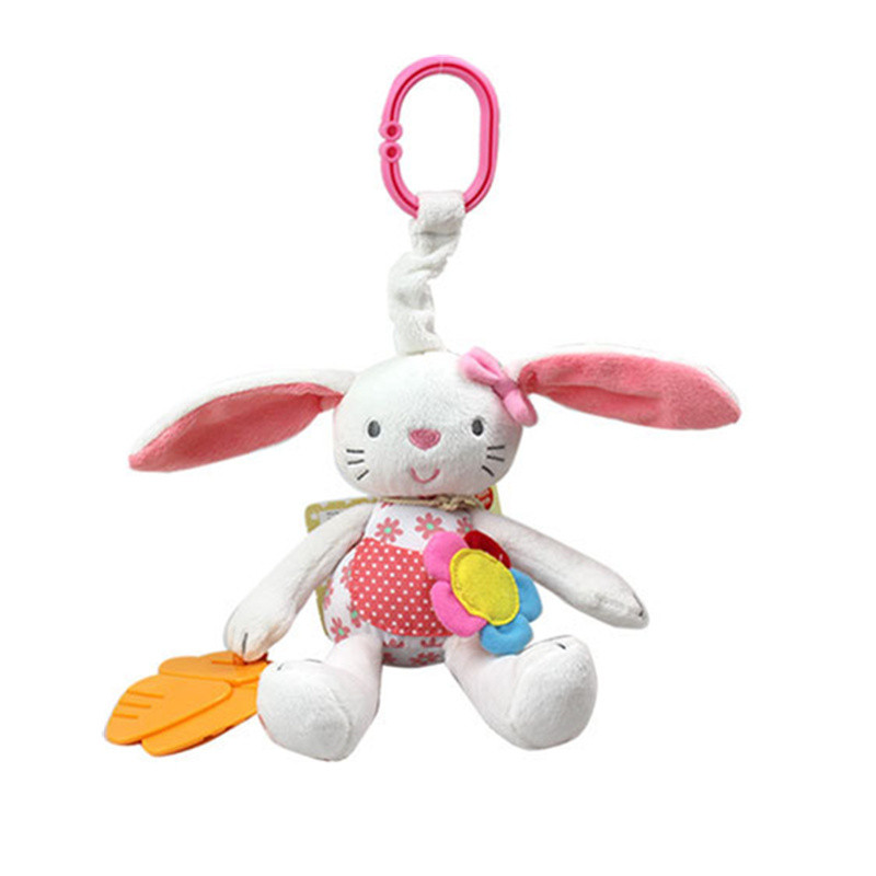 Colorful Rabbit baby rattle Bell Ring toy baby plush bed Hanging Animal doll Soft stuffed Teether Multifunction toys 20% off настенные часы nicole time nt306