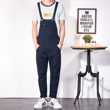 Japanese retro tooling Siamese suspenders male Korean slim Denim Bib males's denim pants toes