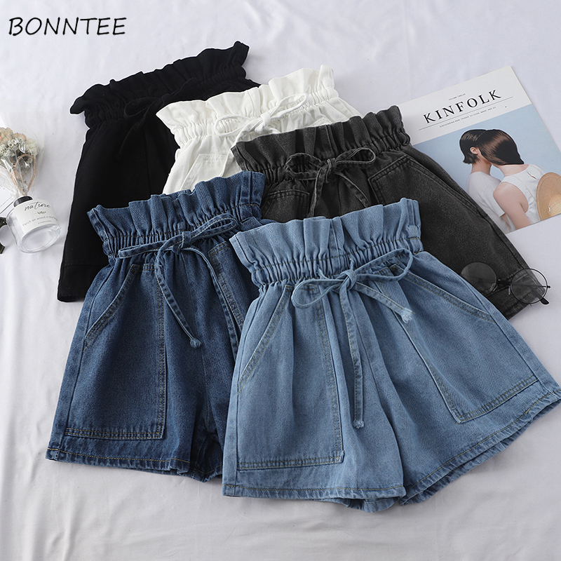Shorts Women Trendy Solid Bow Elegant All-match High-quality Korean Style Pockets Leisure Daily Womens Female Lovely Simple 2019