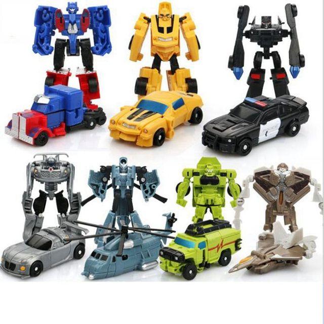 Оригинальная коробка, 7 стилей, роботы трансформеры, экшн фигурки, мини автомобили, робот, Классическая модель, игрушки для детей, подарки, Brinquedos