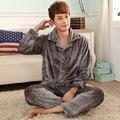 Nueva llegada kimono ropa de hombre para hombre pijamas set, más el tamaño de manga larga de franela pijamas hombres, invierno pijama de noche en casa