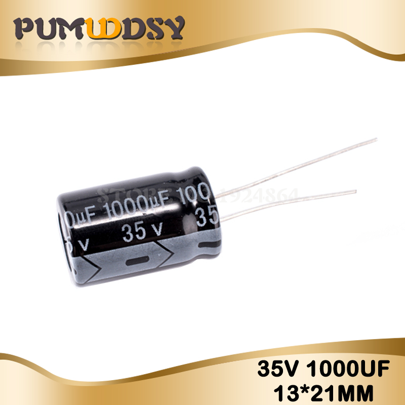10PCS Higt Quality 35V1000UF 13*21mm 1000UF 35V 13*21 Electrolytic Capacitor
