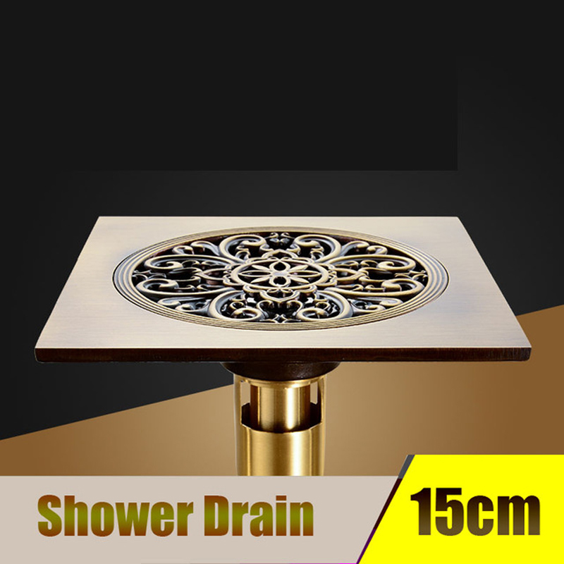 15 15 Cm Square Large Flow Floor Drain Bathroom Shower Drain Building Material Grate Drainer