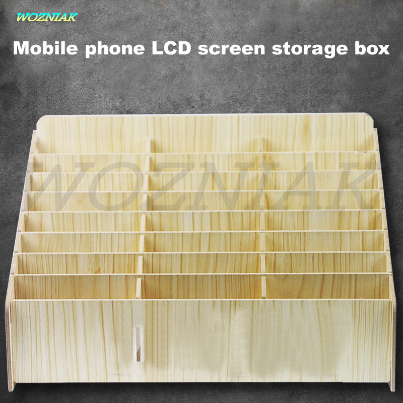 Free Shipping Anti-static DIY Mobile screen Storage rack desktop Screen storage box Repair accessories wooden pallets Tools boxs