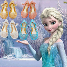 princess shoes Christmas Halloween cosplay costumes for kids Anna birthday party Jellies Elsa Cinderella crystal scandal