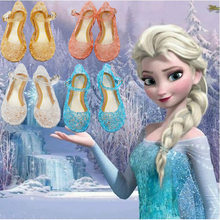 princess shoes Christmas Halloween cosplay costumes for kids Anna birthday party Jellies Elsa Cinderella crystal shoes scandal(China)
