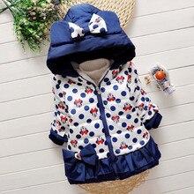 НОВЫЕ куртки для девочек; модная одежда с рисунком Минни Маус; пальто для маленьких девочек; зимняя теплая Повседневная Верхняя одежда с Микки Маусом; детская куртка для От 1 до 5 лет