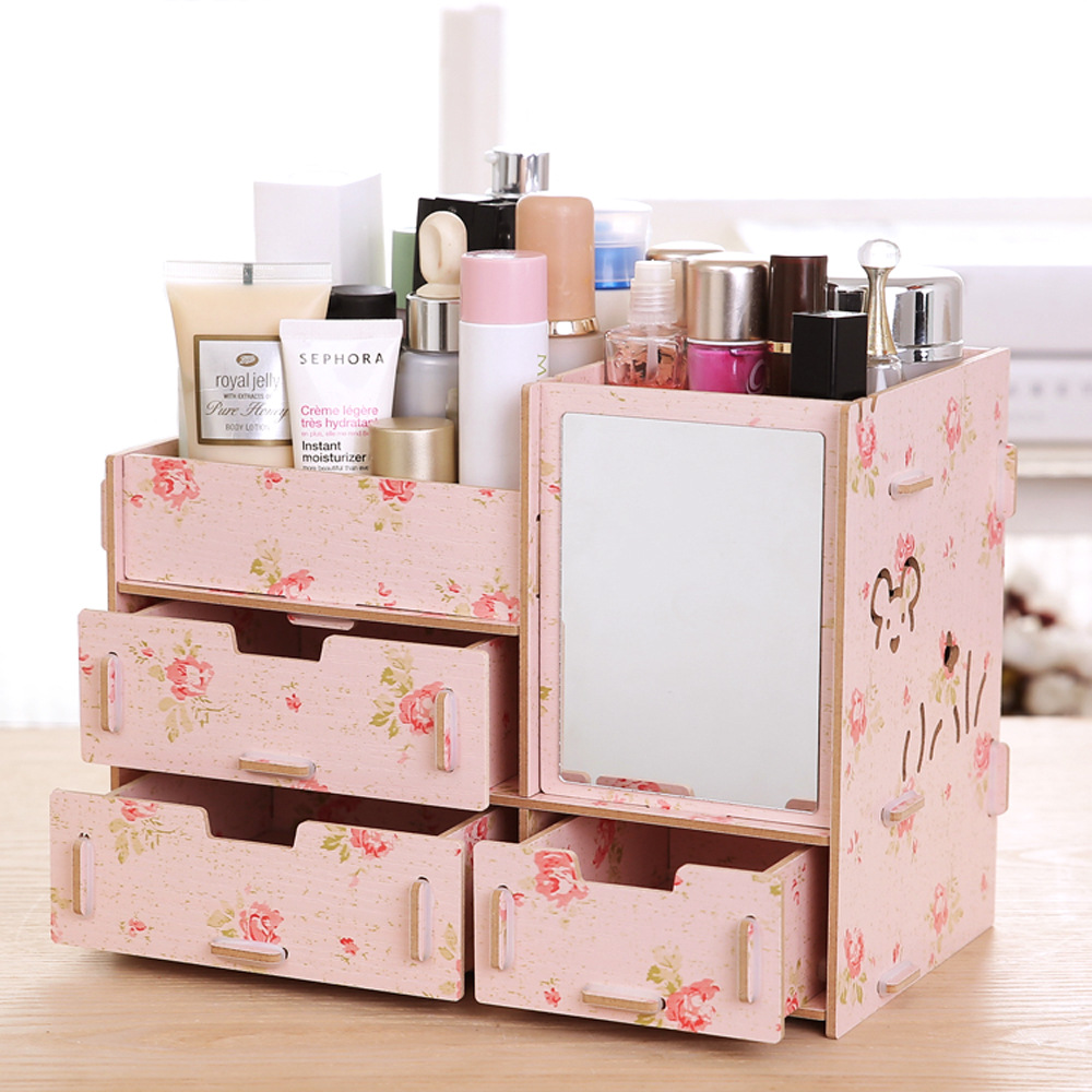 colorful wood makeup organizer with mirror elegant jewelry storage