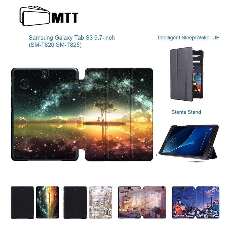 все цены на New High Quality Flip PU Print Anime Sky Case For Samsung Galaxy TAB S3 9.7 SM-T820 T825 Leather Stand Tablet Protective Cover