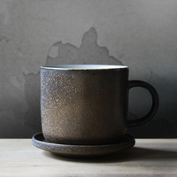 Japan style retro coffee cups and saucers ceramic brown black pottery personality cup with handgrip birthday gifts frost 290cc