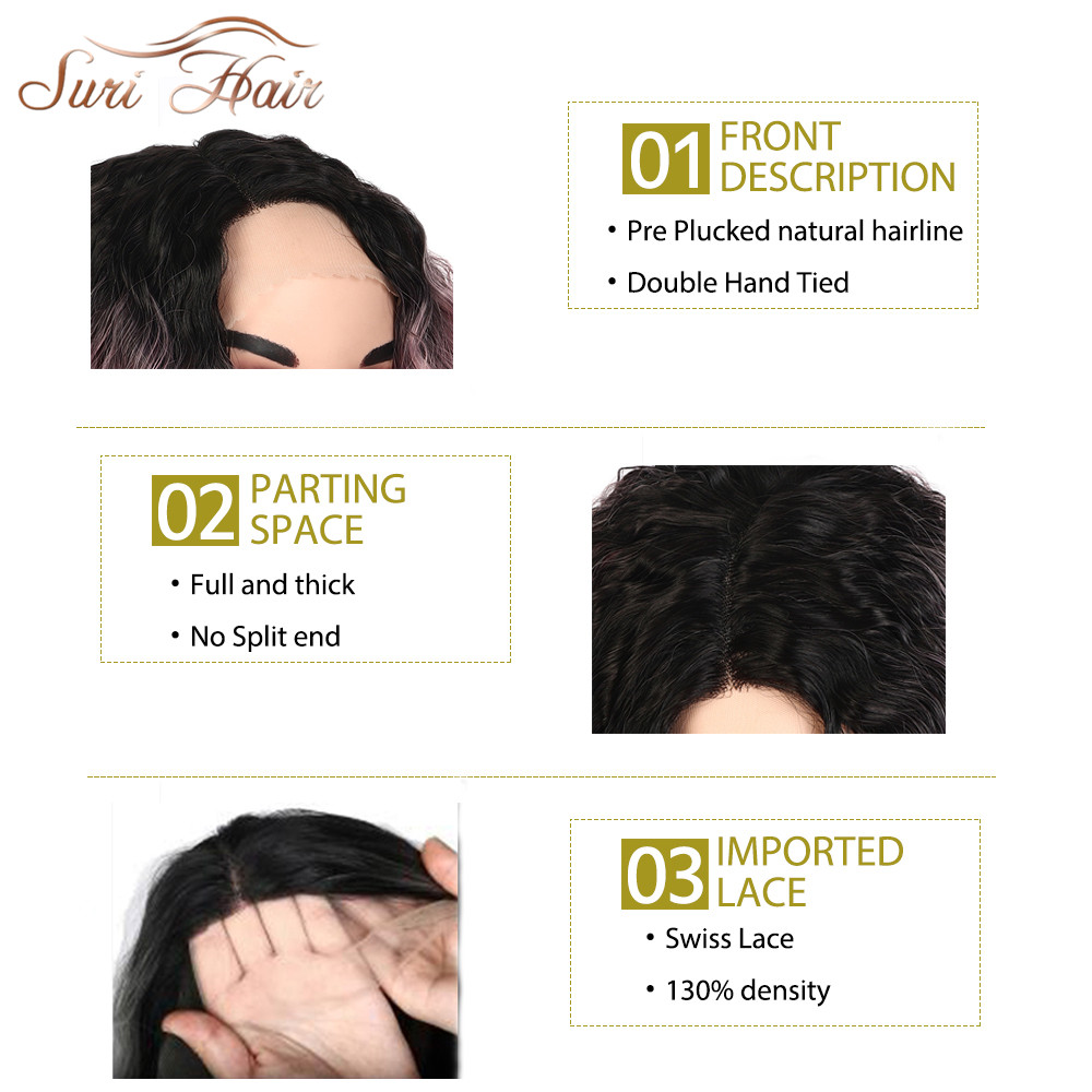 Suri Hair spets fram kinky lockigt syntetisk peruk för kvinnor Ombre - Syntetiskt hår - Foto 3