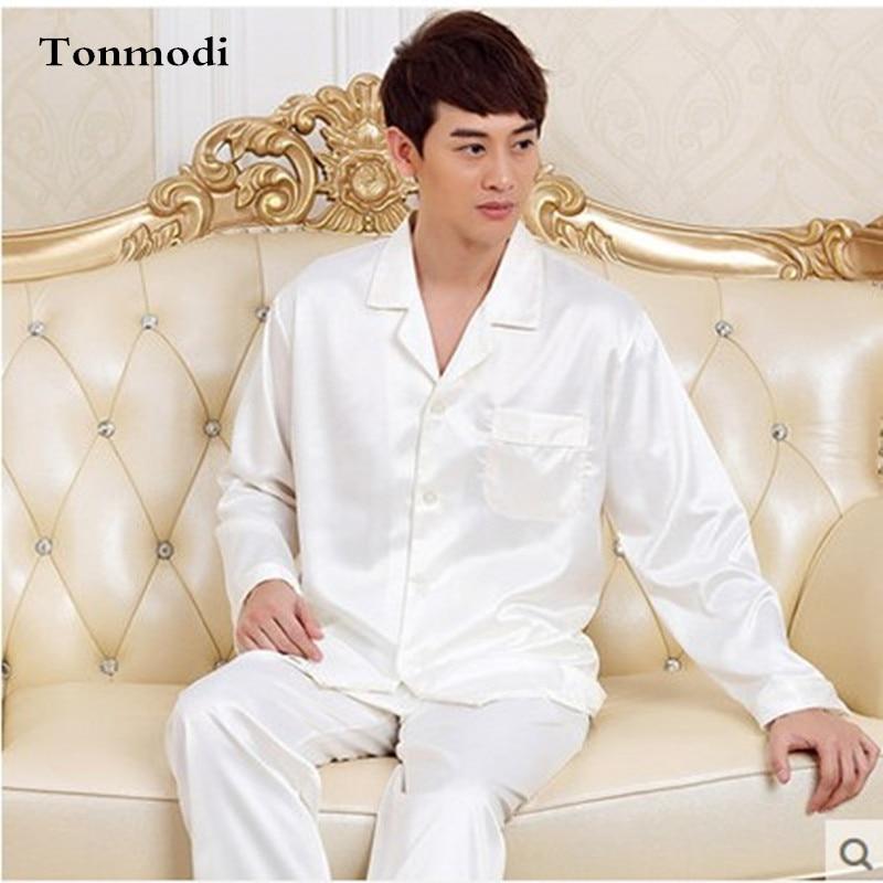 2017 New Luxurious Long Sleeve Silk Pajamas Men Trousers Satin Sleepwear Pyjamas Mens Silk Pajamas Plus Size 4XL