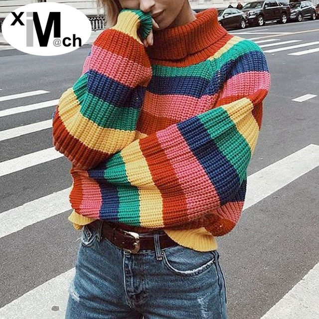 c2cb091bd3 xiM M ch Autumn New Striped Pullover Tops Turtleneck Long-Sleeve Loose fit  Computer Knitted