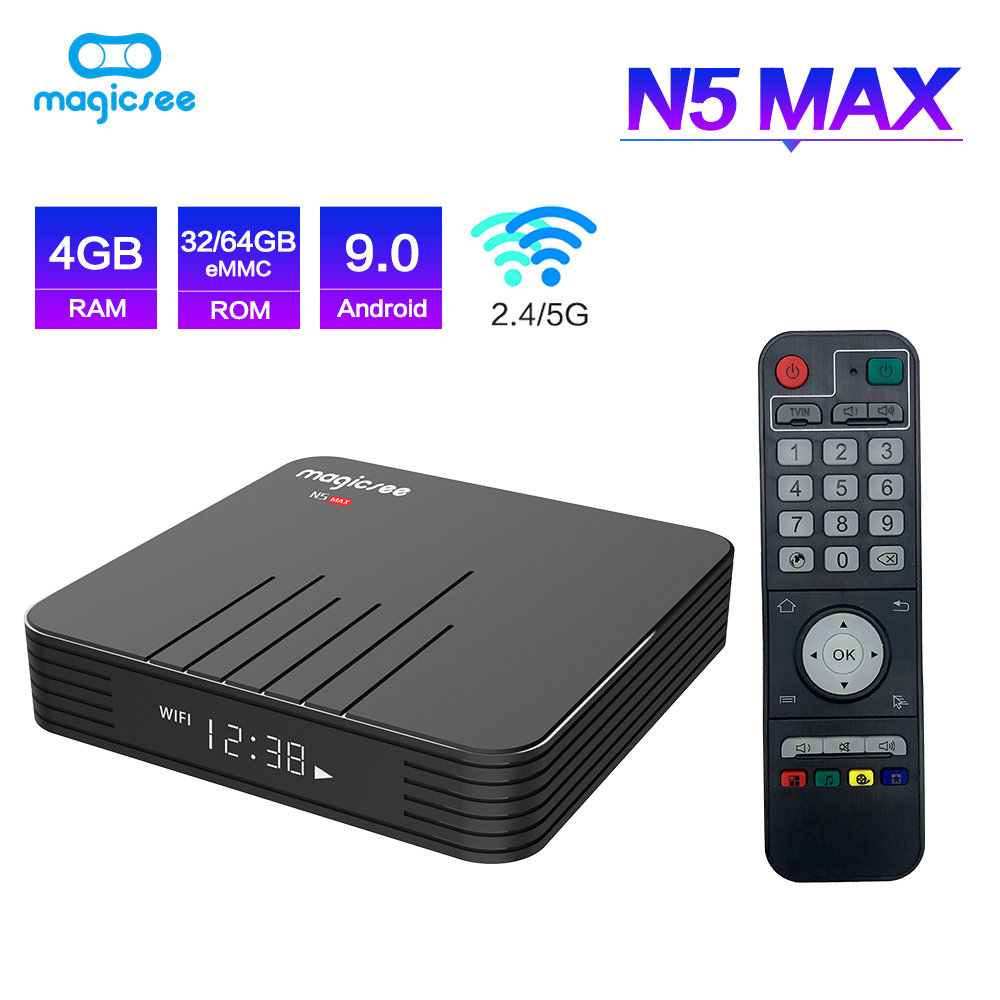 Magicsee N5 Max Amlogic S905X2 Android 9.0 TV BOX 4G 32G/64G Rom 2.4 + 5G double Wifi bluetooth 4.1 Smart Box 4K LAN 1000 décodeur