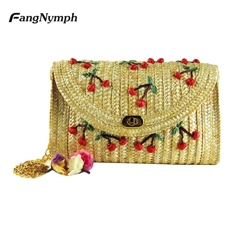 FangNymph New Design Women Fruit Straw Beach Bag Girls Cherry Embroidery Crossbody Crochet Lady Cute Rattan Shoulder Bag Pouch cherry beach парео