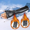 40CM leather gloves Ms. longer section touch leather autumn and winter warm orange design Korean PU gloves