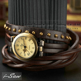 Hot ! Original i-Saw Cowhide braid leather watchband wrist watch 3 round rivet vintage watch strap popular wristwatch pendant