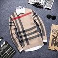 Camisola dos homens Pulôver de Gola Alta Inverno Homme Xadrez Fino de Malha Camisola Dos Homens Homens sapatos Casuais Pullovers Camisolas Frete Grátis