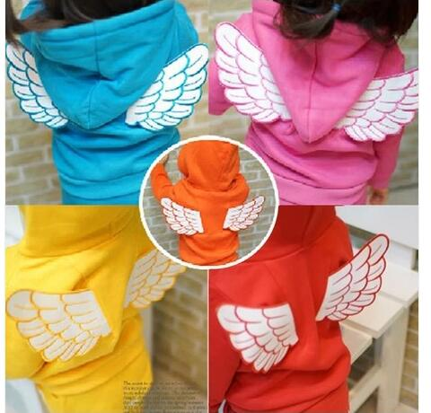 Retail 2017 New Arrival Children Set Baby Girls Boys Spring Autumn 2 pcs Set Angel Wing Hoodies Sweater Coat+Pants suit new arrival children clothing set baby boys spring