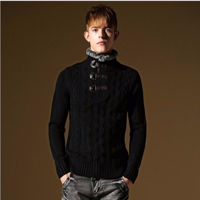 M-3XL de los hombres otoño y el invierno de cuello alto marca cuello de piel sólido espesar suéter de cachemira suéter suéter suéter caliente