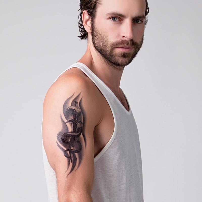 Wąż Miecz Ramienia Tatuaż Naklejki Wodoodporne Męskie