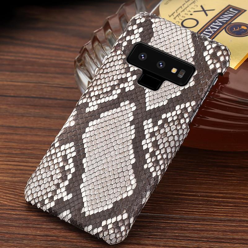 Naturel Peau de Python Étui de Téléphone Pour Samsung Note 8 9 En Cuir Véritable Pour Galaxy S6 S7 Bord S8 Plus A5 a7 2017 A8 A9 J5 J7 cas