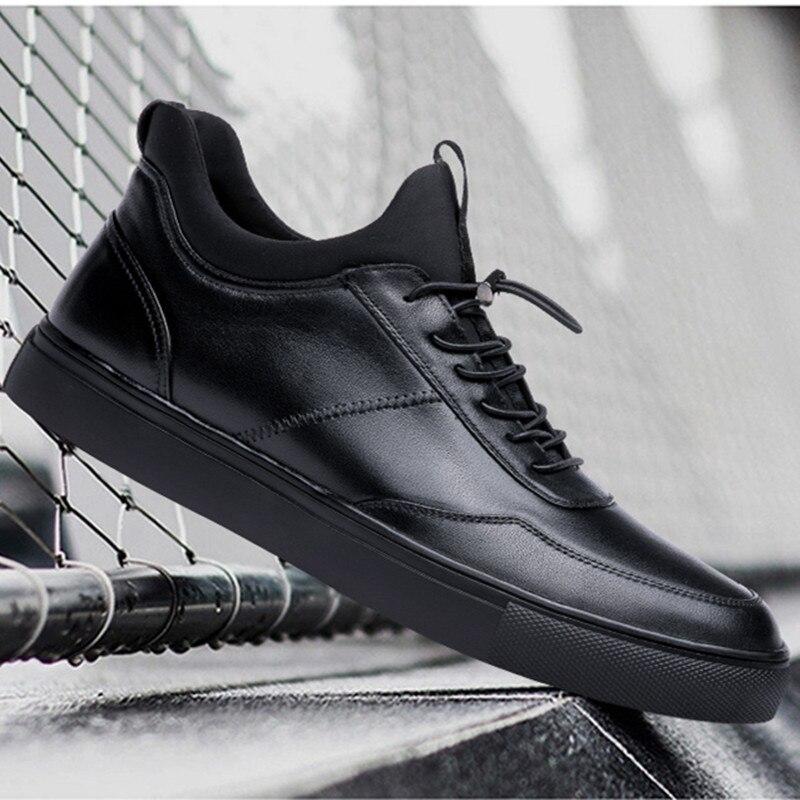 ea528f46a Genuíno Dos Sapatilhas Sneakers Homens Skate Respirável De Ao Lace Shoes  Sapatos Up Flat Black Moda Casuais Couro ...