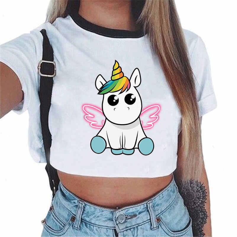 Camiseta feminina arco-íris unicórnio casual topo de colheita licorne bonito manga curta dos desenhos animados unicornio 2017 verão tshirt novo