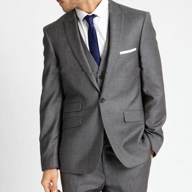 Jacket+Pants+Vest ) 2017 New grey mens prom suits xs 6XL Wedding ...