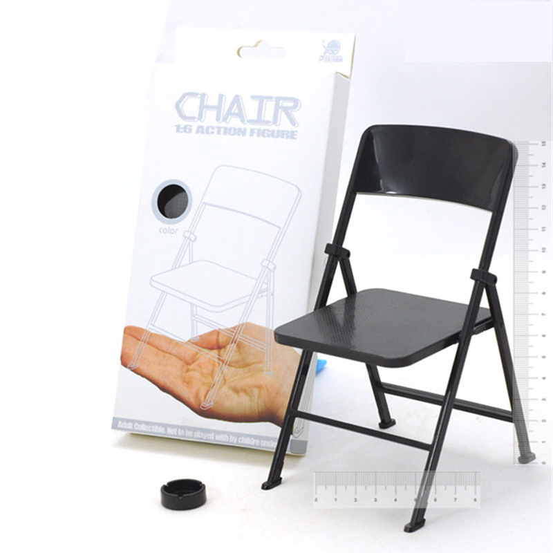 mnotht 16 solider black chairs mini folding office chairs toy for 12in figures model