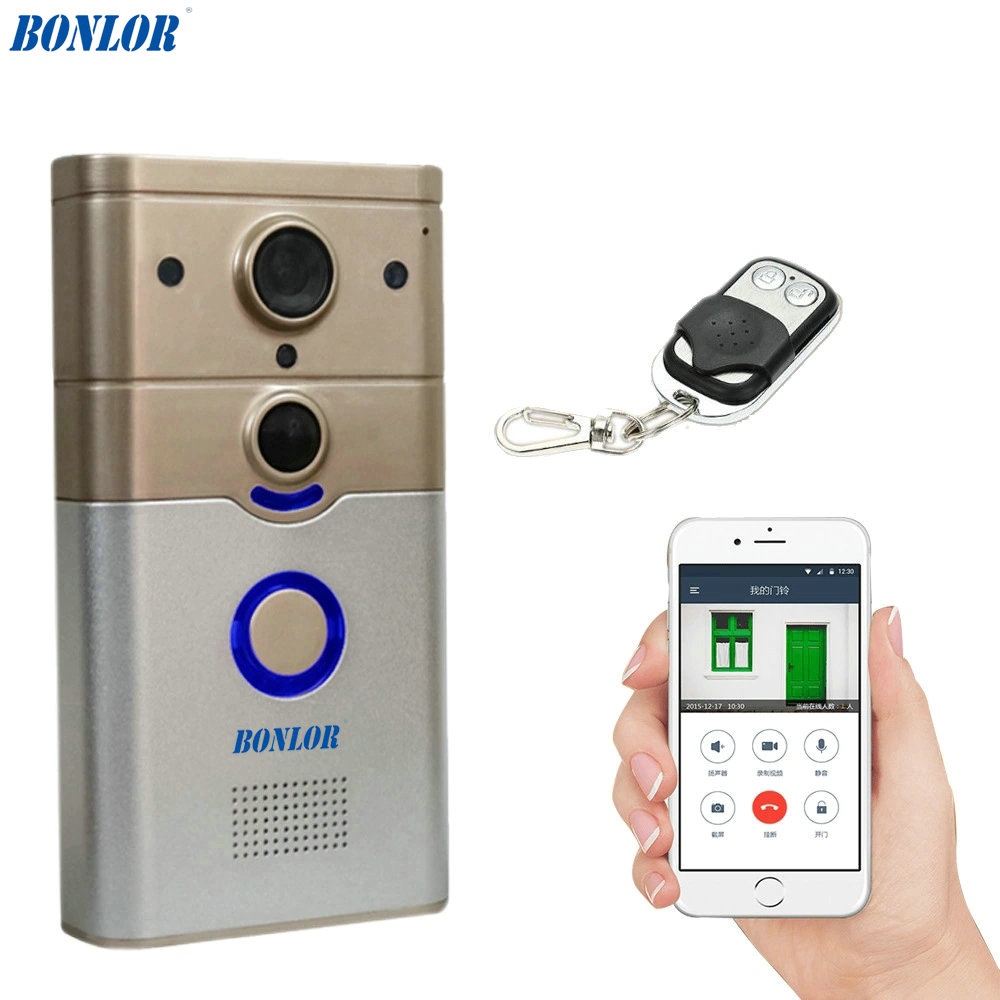 Wireless WiFi Smart Doorbell with PIR Alarm for Real-time Video & Call, Unlock, Photograph, Videotape by Mobile APP & Tablet PC image