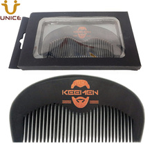 100pcs/lot Laser Engraved Customized LOGO Black Hair Combs Wooden Beard Comb for Men & Women in Retail Window Paper Case