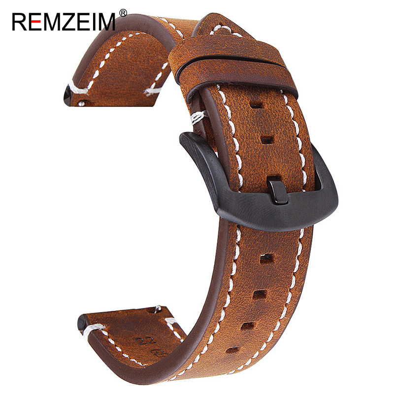 Handmade Retro Double Sided Crazy Horse Skin 18mm 20mm 22mm Leather Watch Band Straps Quick Release Spring Bar WatchBand