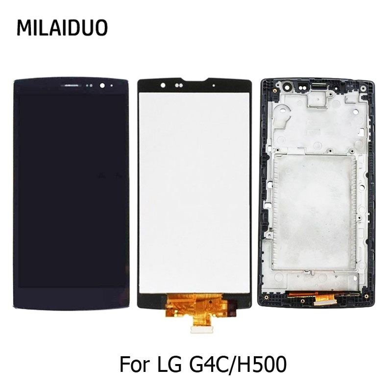 Original LCD Display For LG G4c H500 H525N H525 H522Y H520Y Touch Screen Digitizer Sensor Monitor Assembly Black With Frame