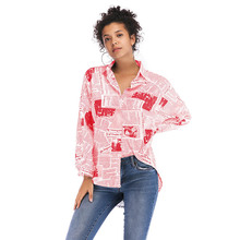 VZFF  Womens Tops And Blouses Fashion Letter Printed Newspaper Shirt 2019 New Female Lapel Single-Breasted Women