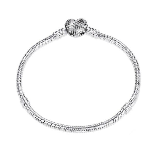 e61f2aec45b4 100% 925 Corazón de plata esterlina cadena encanto pulsera para las mujeres  auténtica joyería fina