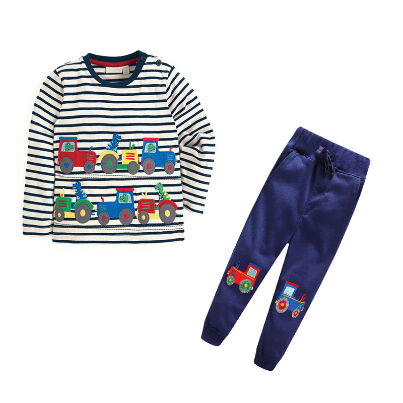 jumping meters Brand clothing sets boys cotton cartoon embroidery cars autumn spring child clothes top + pant kids clothing set jumping meters boys winter clothes children clothing sets animal tops pants 100% cotton 3017 brand kids tracksuit boys outfits