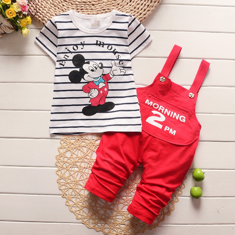 Baby Boy Clothes 2017 Summer Brand Short Sleeved Striped T-shirt Tops + Overalls Childrens Outfits Kids Bebes Jogging Suits