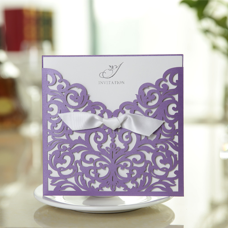 50 Pearl Purple Vintage Wedding Invitation Card Elegant Laser Cut ...