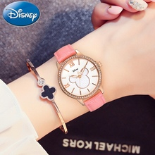 Women Luxury Bling Rhineston Leather Quartz Ladies Dress Fashion Elegant watch Mickey Luminous Girl Clock Genuine Disney Brand genuine disney roman type women dress best quality leather antique watches girl fashion casual quartz watch famous hour mickey